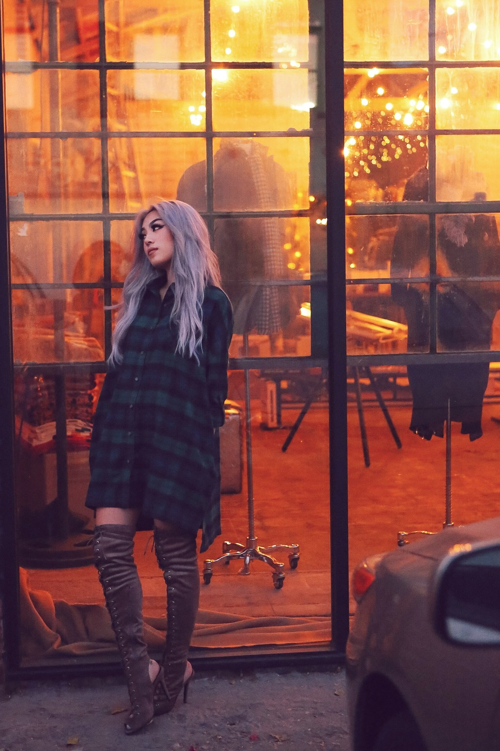 Windsor Kylie Plaid Tunic / Blu Boutique Lace-Up Boots / Lack of Color Montana Hidden Shadows Photography by Jeff Fernandez (@yojefff)
